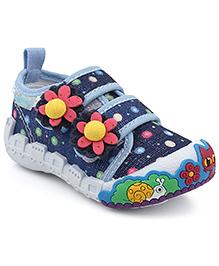 Kittens Shoes Canvas Casual Shoes Floral Applique - Blue