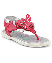 Kittens Shoes Sandals Butterfly Applique - Fuchsia