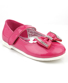 Kittens Shoes Party Wear Ballerina Bow Applique - Fuchsia