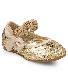 Kittens Shoes Party Wear Ballerina Floral Motifs - Golden