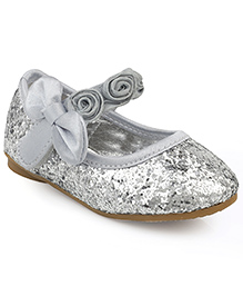 Kittens Shoes Party Wear Ballerina Floral Motifs - Silver