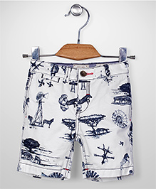 Police Zebra Junior Zebra Print Shorts - White