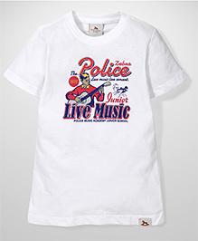 Police Zebra Juniors Live Music Print T-Shirt - White