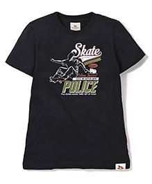 Police Zebra Juniors Skate Print T-Shirt - Black