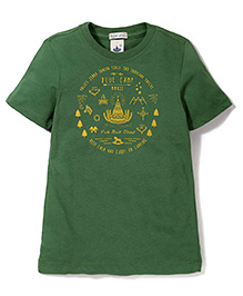 Police Zebra Junior Blue Camp Print T-Shirt - Green