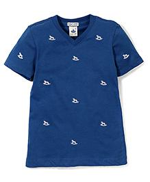 Police Zebra Juniors Horse Print T-Shirt - Blue