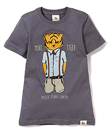 Police Zebra Juniors Mini Tiger Print T-Shirt - Dark Grey