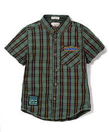 Police Zebra Juniors Stripe Print Shirt - Dark Green