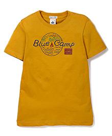 Police Zebra Juniors Blue Camp Print T-Shirt - Yellow
