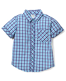Babyhug Half Sleeve Cotton Shirt Checks Print - Blue