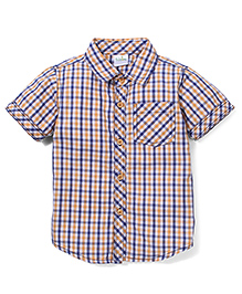 Babyhug Half Sleeve Cotton Shirt Checks Print - Orange