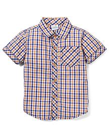 Babyhug Half Sleeve Cotton Shirt Checks Print - Orange