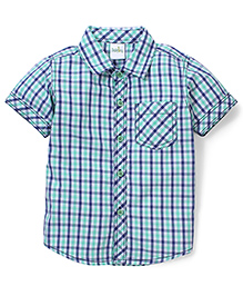 Babyhug Half Sleeve Cotton Shirt Checks Print - Green
