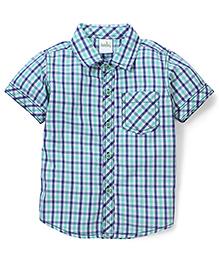 Babyhug Half Sleeve Cotton Shirt Checks Print - Green