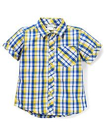 Babyhug Half Sleeve Cotton Shirt Checks Print - Blue Yellow