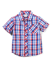 Babyhug Half Sleeve Cotton Shirt Checks Print - Blue Red