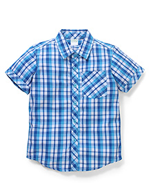 Babyhug Half Sleeve Cotton Shirt Checks Print - Blue White