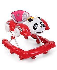 Musical Baby Walker Panda & Car Design - Red & White