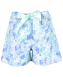 Cutecumber Floral Printed Short With Rhinestone Embellishments - Green & Blue