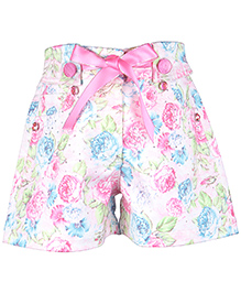 Cutecumber Floral Printed Short With Rhinestone Embellishments - Pink & Off White