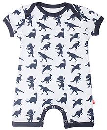 Nino Bambino Organic Cotton Romper Dinosaur Print - White Navy