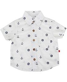 Nino Bambino Organic Cotton Shirt Anchor Print - Off White