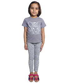 Nino Bambino Organic Cotton Top And Leggings Animal Print - Grey
