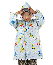 Babyhug Full Sleeves Raincoat Animals Print - Blue