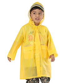 Babyhug Full Sleeves Raincoat Fish Patch - Yellow