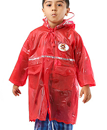 Babyhug Full Sleeves Raincoat Diva Patch - Red