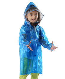 Babyhug Full Sleeves Raincoat Butterfly Patch - Blue