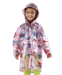 Babyhug Full Sleeves Raincoat Noah's Ark Print - Pink