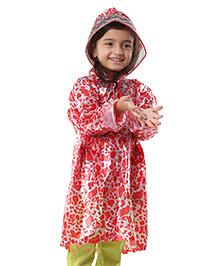 Babyhug Full Sleeves Raincoat Water Splash Print - Red