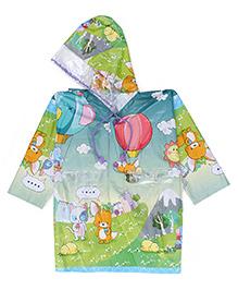 Babyhug Hooded Raincoat Air Balloon Print - Green