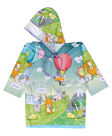 Babyhug Hooded Raincoat Air Balloon Print - Green