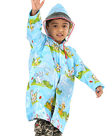 Babyhug Hooded Raincoat Animal Print - Sky Blue