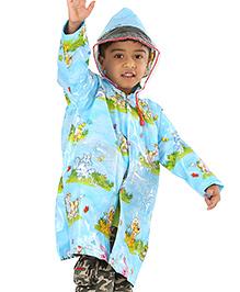 Babyhug Hooded Raincoat Animal Print - Sky Blue