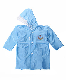 Babyhug Full Sleeves Raincoat Candy Heart Patch - Blue