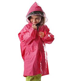 Babyhug Full Sleeves Raincoat Peace Patch - Pink
