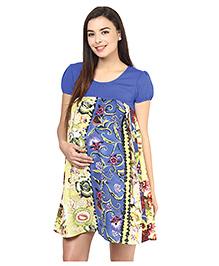 Mine4Nine Short Sleeves Crepe Maternity Dress Floral Print - Blue