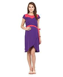 Mine4Nine Short Sleeves Georgette Maternity Dress Color Block Print - Purple