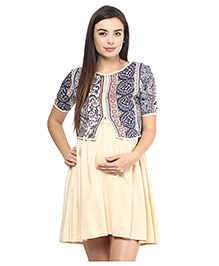 Mine4Nine Rayon Maternity Dress With Shrug Paisley Print - Beige