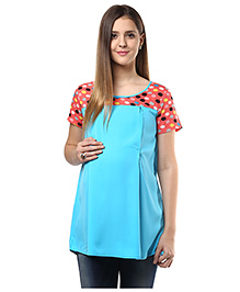 Mine4Nine Half Sleeves Crepe Maternity Top Polka Dots Print - Turquoise