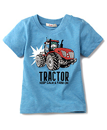 Fox Baby Half Sleeves T-Shirt Tractor Print - Blue