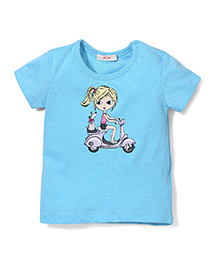 Fox Baby Half Sleeves T-Shirt Scooter Print - Blue