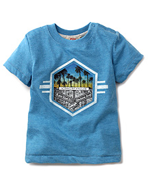 Fox Baby Half Sleeves T-Shirt Caption Print - Blue