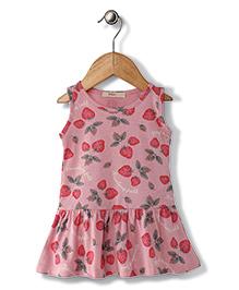 Fox Baby Sleeveless Frock Strawberry Print - Light Pink