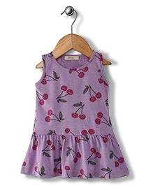 Fox Baby Sleeveless Frock Cherry Print - Purple