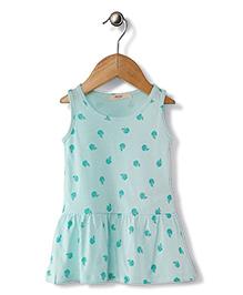Fox Baby Sleeveless Frock Apple Print - Aqua