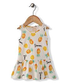 Fox Baby Sleeveless Frock Lemon And Pineapple Print - Off White